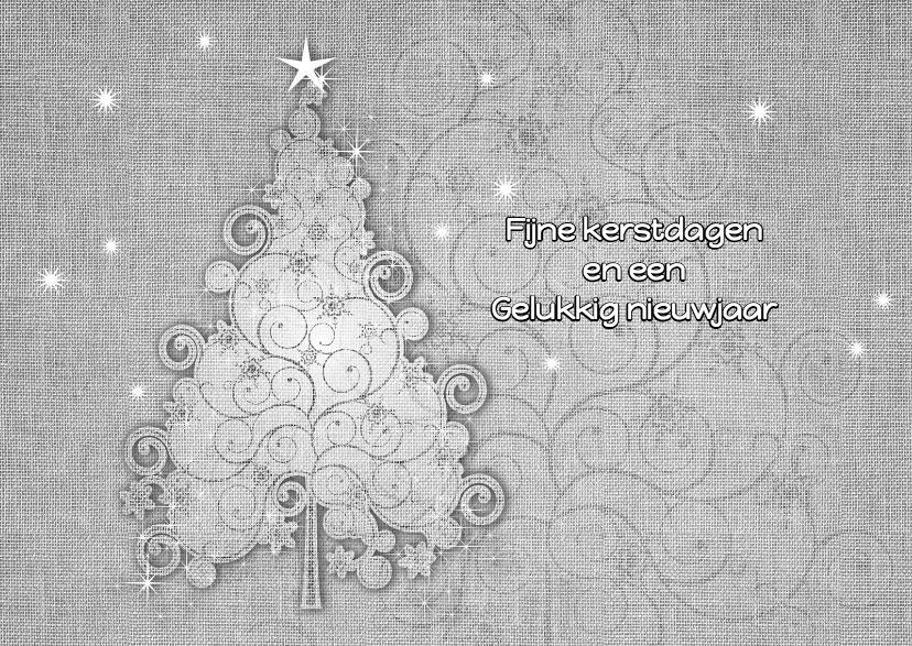 Kerstkaart linnen zwart-wit 1