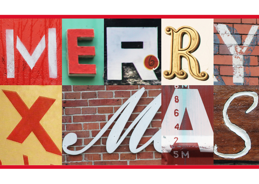 Kerstkaart Merry Xmas letters 1