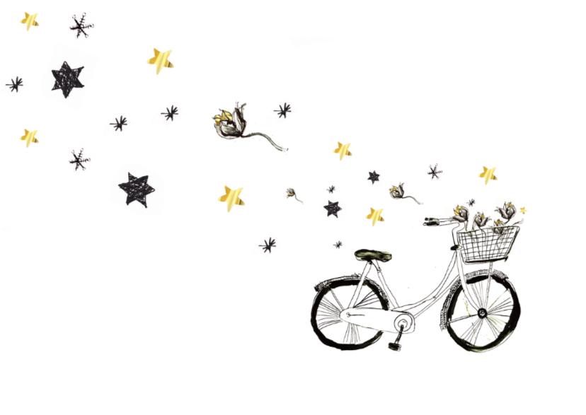 Kerstkaart met fiets en goud 2