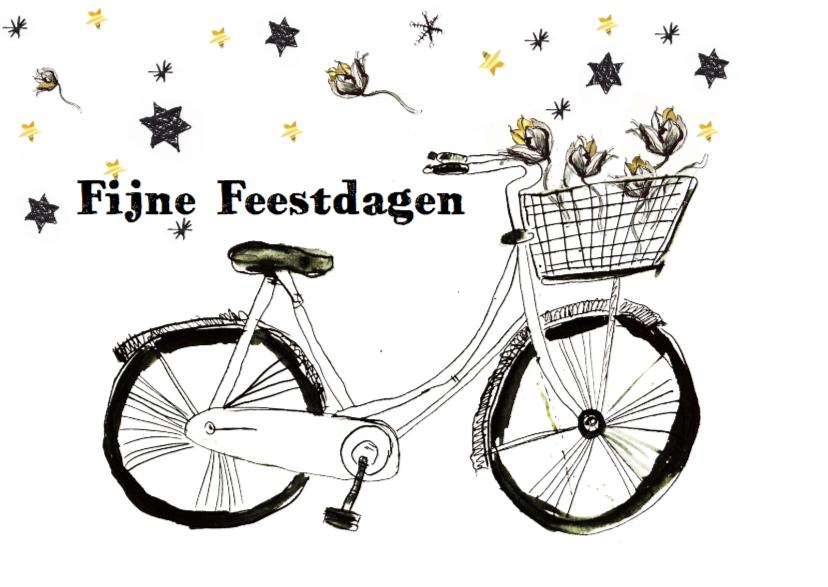 Kerstkaart met fiets en goud 1