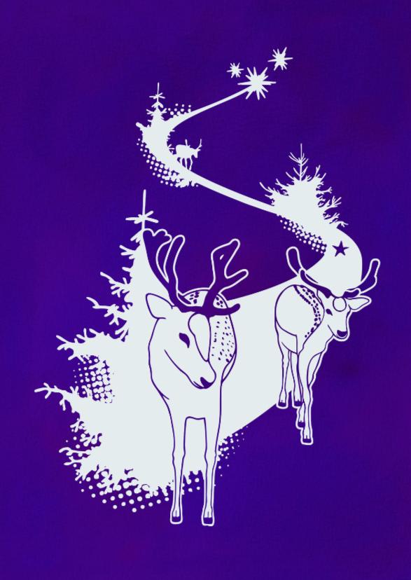 Kerstkaart met hertjes paars 1