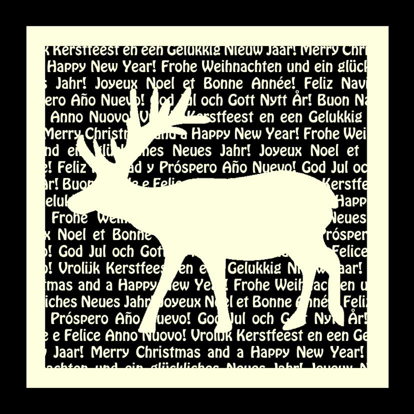 Kerstkaart met rendier en tekst 1