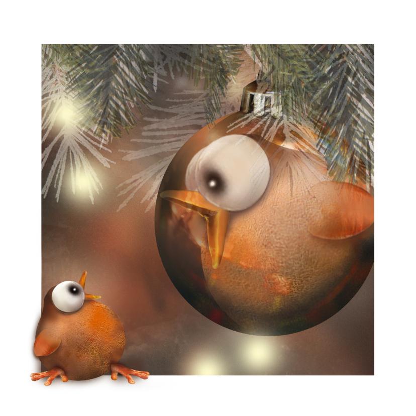 Kerstkaart met vogeltje 1