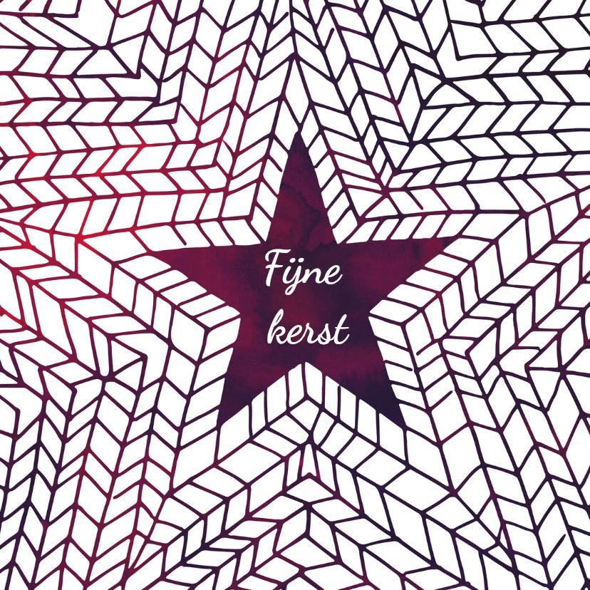 Kerstkaart paarse ster 1