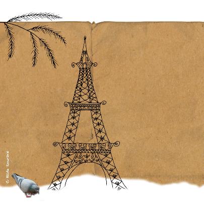 Kerstkaart Parijs vintage-HR 2