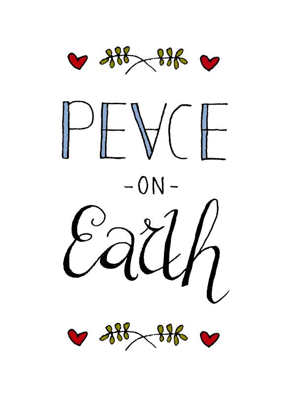 Kerstkaart peace on earth-HR 1