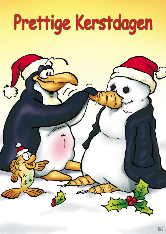 Kerstkaart penguins  Neus - RN 1