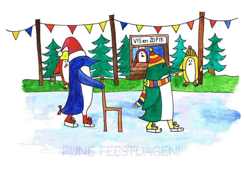Kerstkaart pinguins schaatsen kl 1