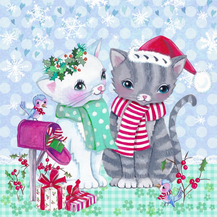 Kerstkaart Poezen kerst winter 1