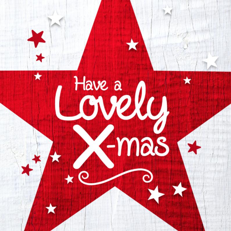 Kerstkaart rode ster wit hout 1