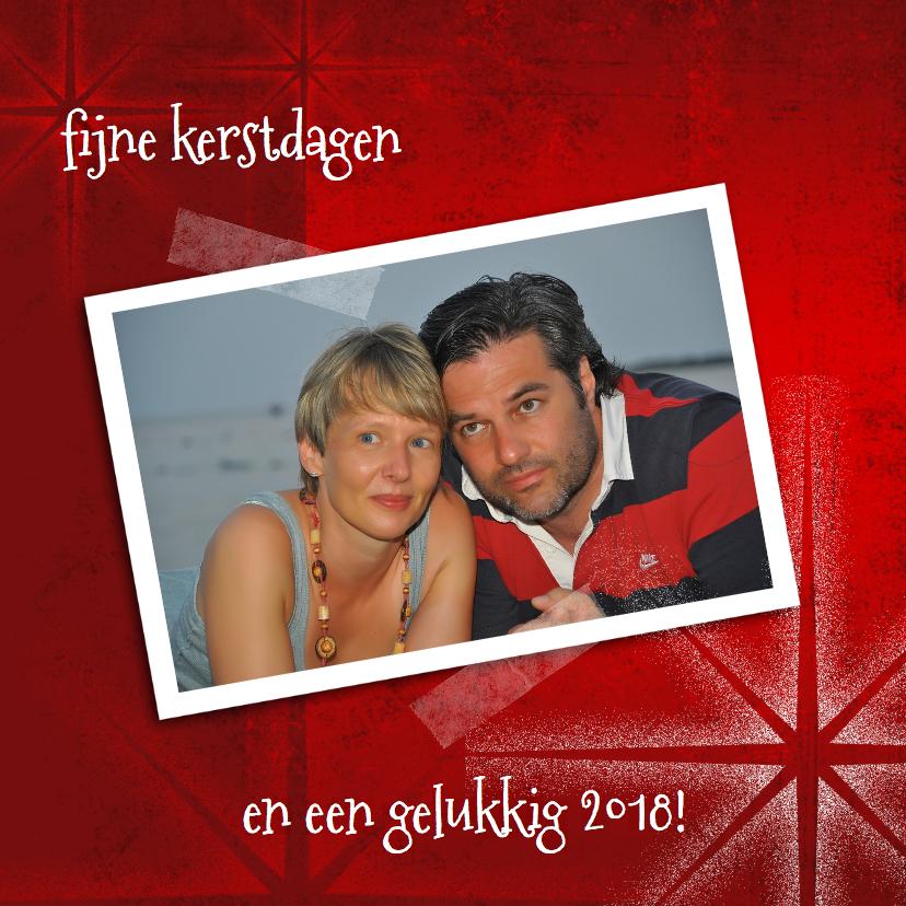 Kerstkaart rood met foto-IP 1