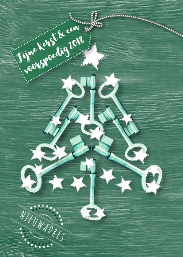 Kerstkaart sleutels kerstboom 1