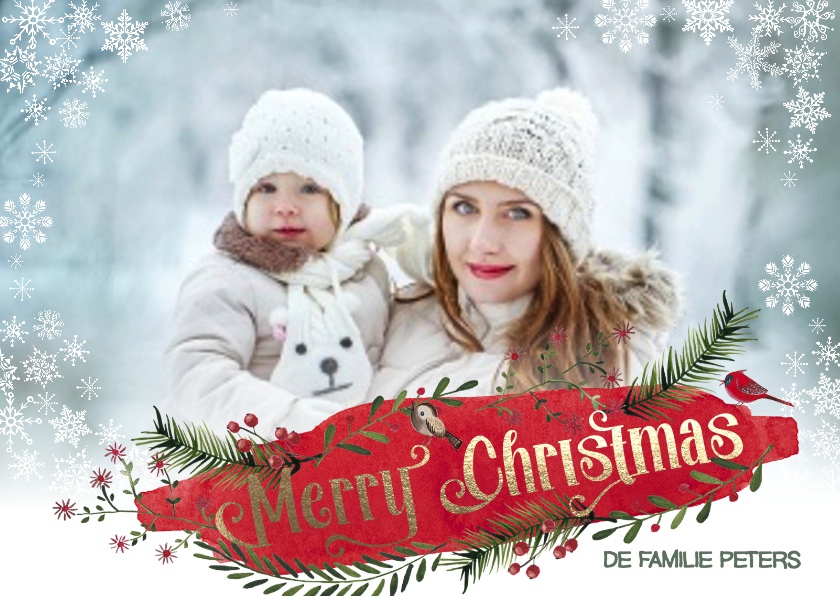 Kerstkaart Sneeuw en Dennegroen 1