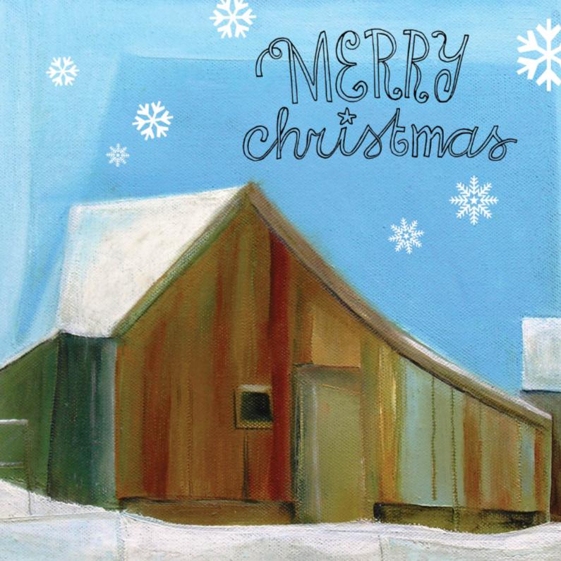 Kerstkaart sneeuw huis hout 1