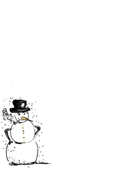 kerstkaart sneeuwpop sterren 2