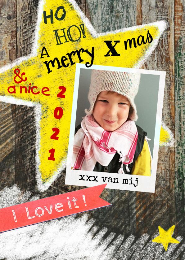 Kerstkaart ster foto hout 1