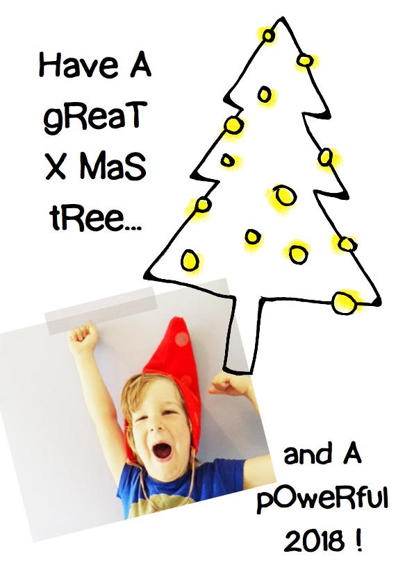 kerstkaart tekening kerstboom 1