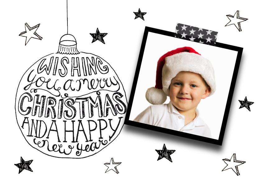 Kerstkaart tekst & foto zwartwit 1