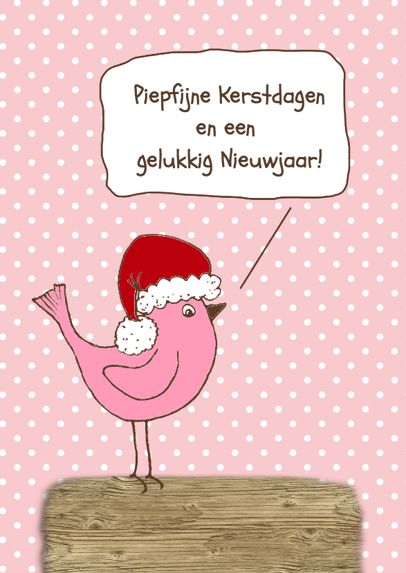 Kerstkaart vogel roze-HR 1