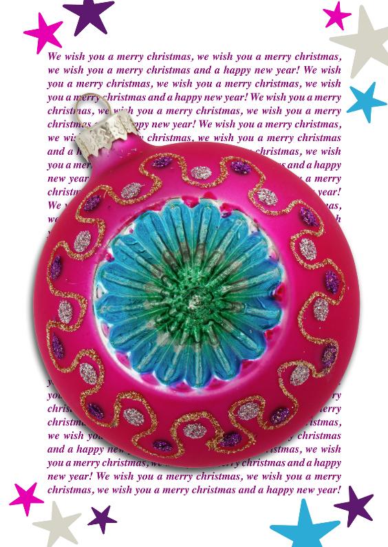 Kerstkaart vrolijke kitsch bal  1