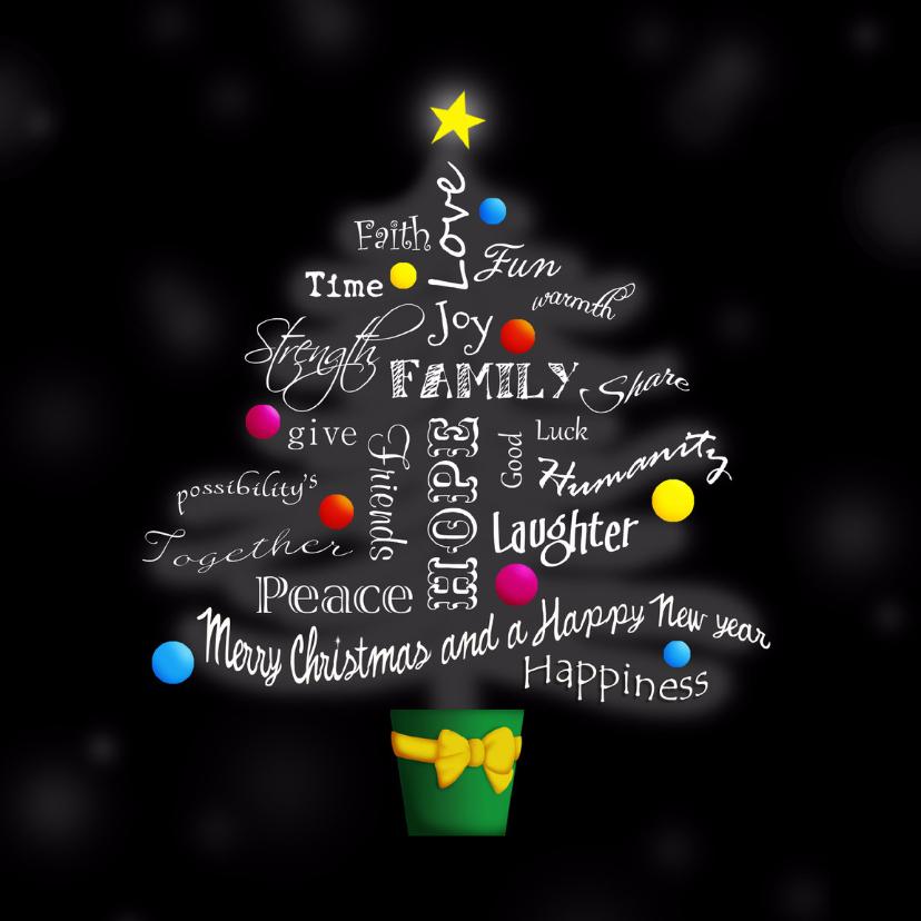 Kerstkaart woorden kerstboom 1