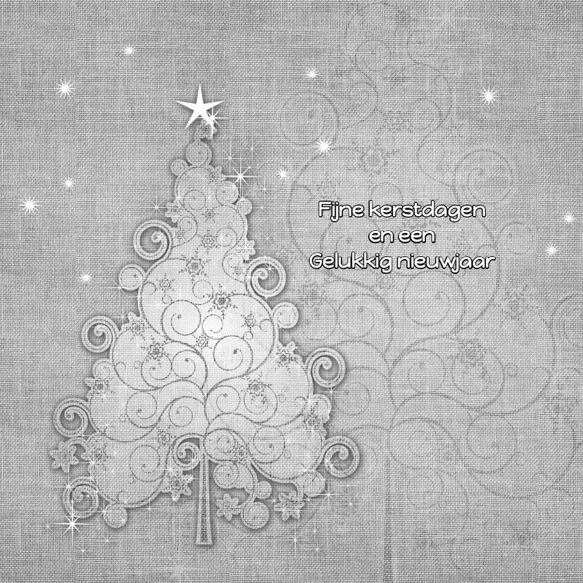 Kerstkaart zwart-wit linnen 1