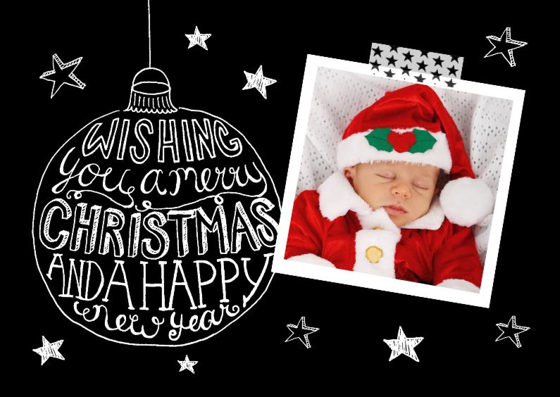 Kerstkaart zwart-wit tekst & foto 1