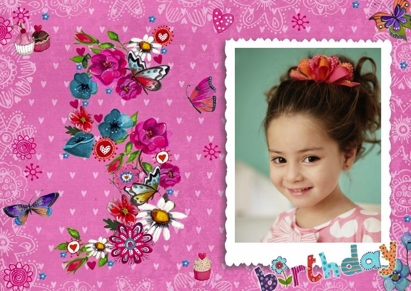 Kinderfeestje 5 jaar Meisje Foto Bloemen 1