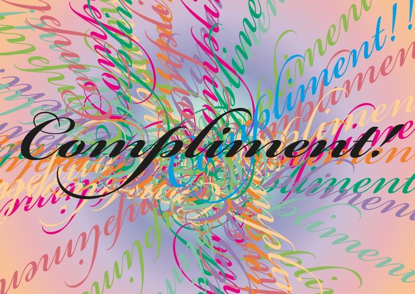 Kleurig compliment tekstkaart 1