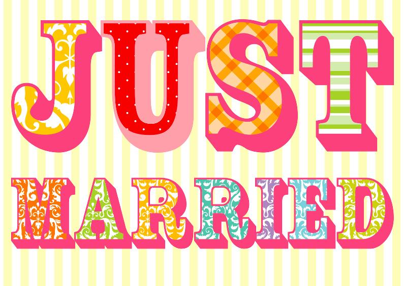 Kleurige Just married kaart 1
