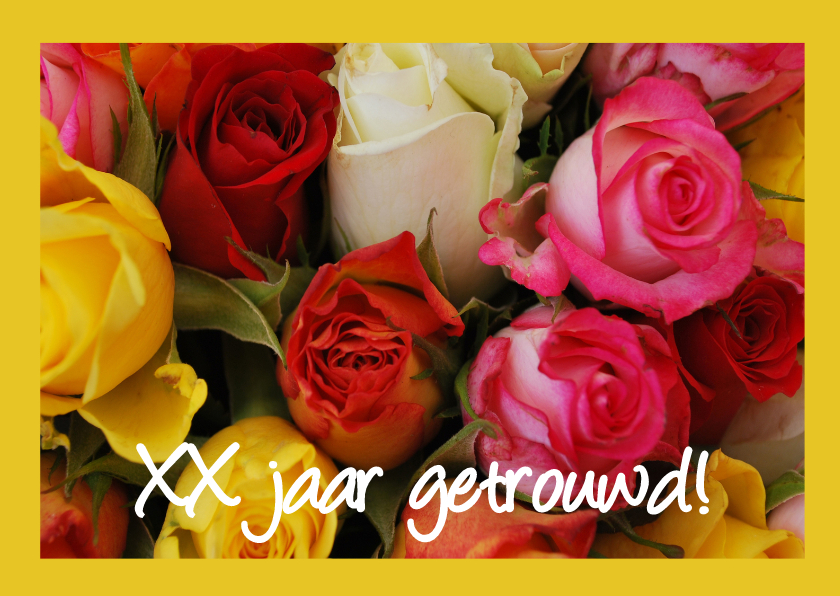Kleurrijke rozen felicitatie 1
