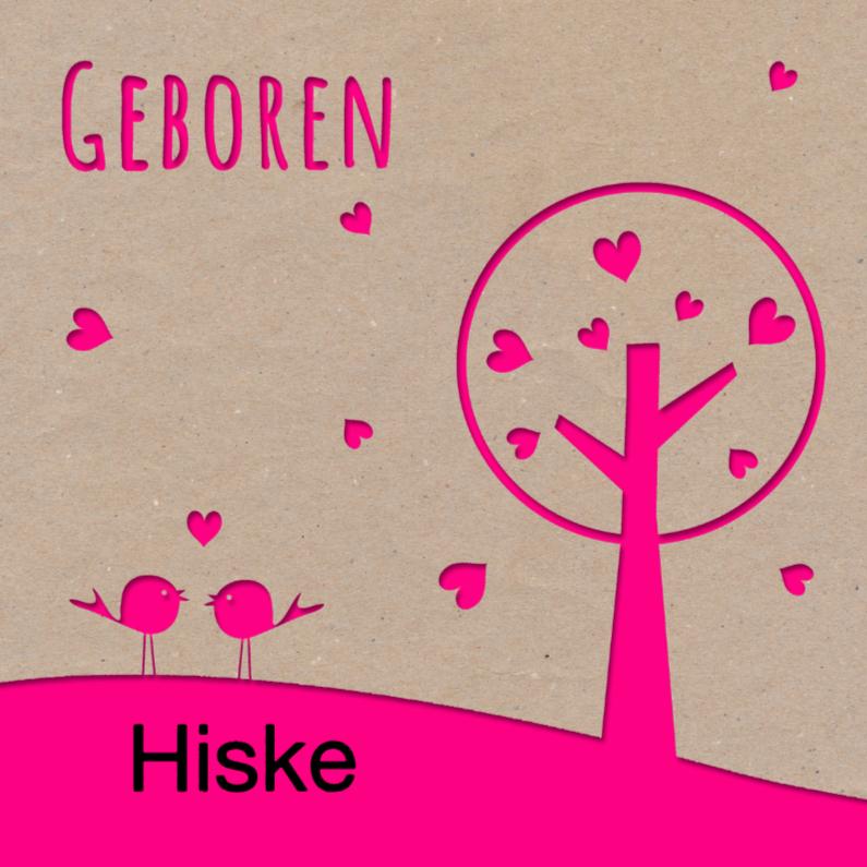 Kraft geboortekaartje roze boom 1