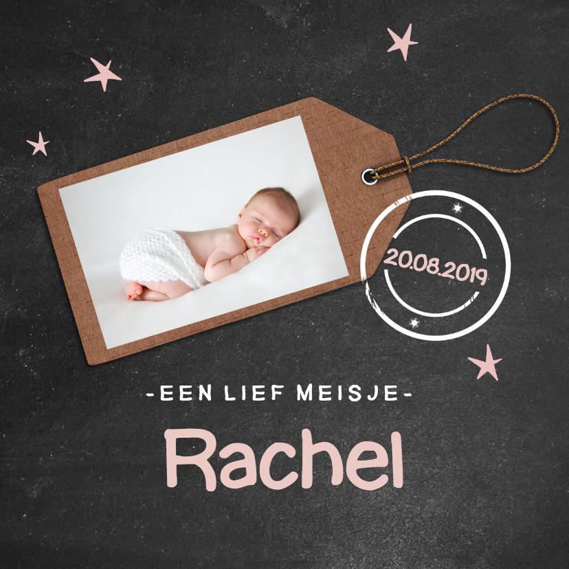Krijtbord geboortekaartje Rachel 1