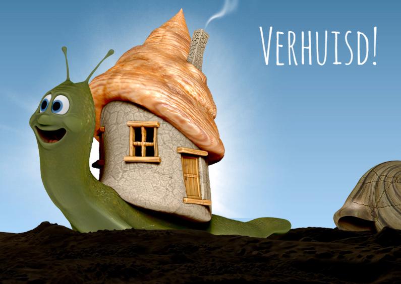 Leuk slakje met nieuw huis verhuiskaart verhuiskaarten kaartje2go - Nieuw huis binneninrichting ...