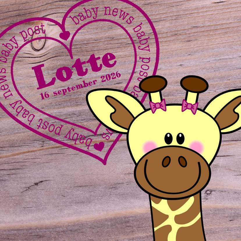 Lief geboortekaartje Giraffe MEISJE 1