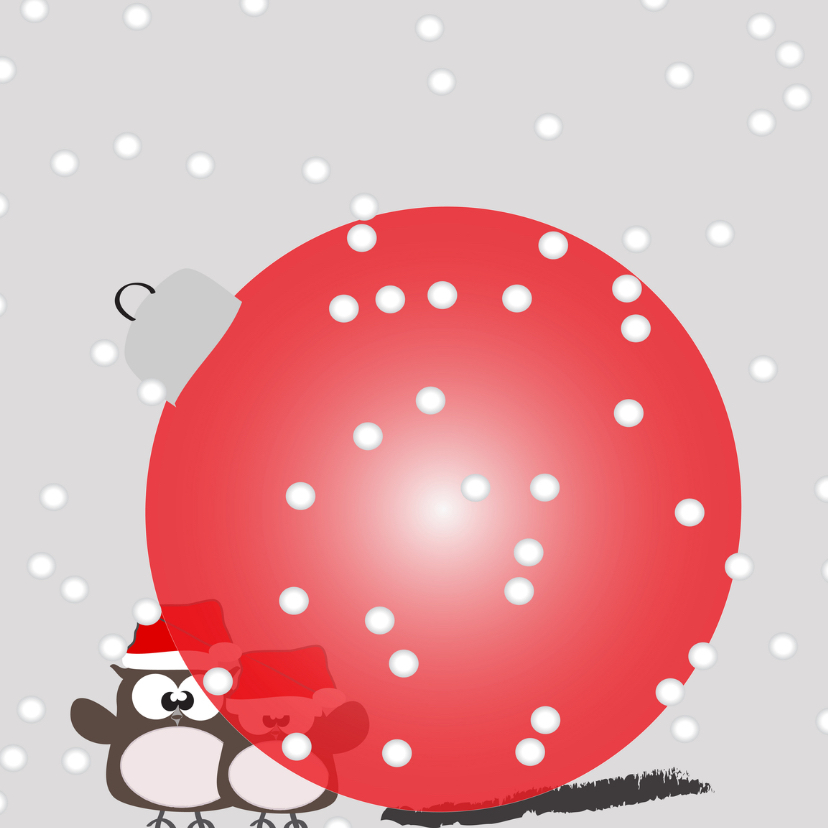 Mo Card Kerst uiltjes achter rode bal 1