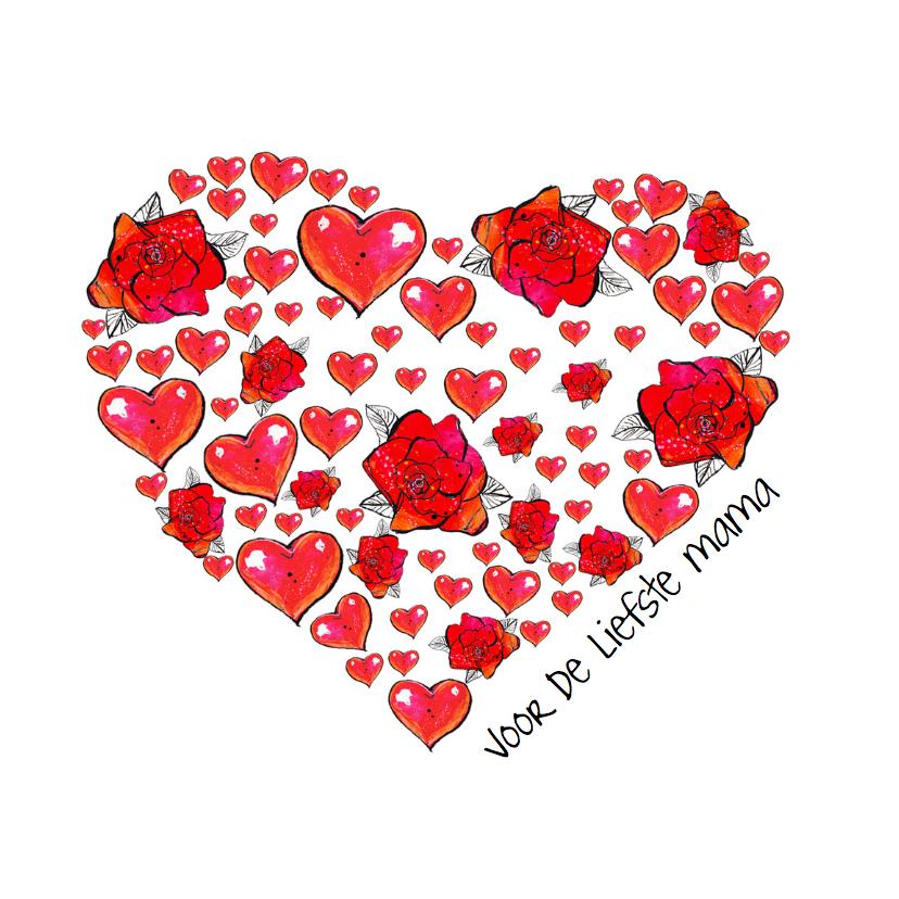 Moederdag kaart bloemen hart