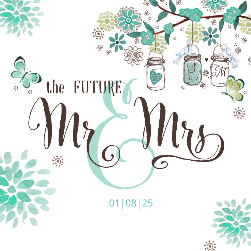 Mr & Mrs Trouwkaart bloemen 1
