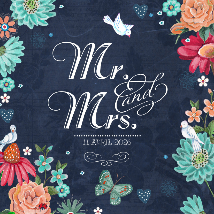 Mr & Mrs Trouwkaart Schoolbord  1