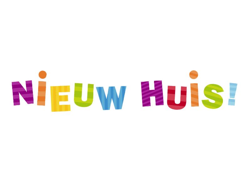 Nieuw huis gekleurde letters verhuiskaarten kaartje2go - Nieuw huis binneninrichting ...