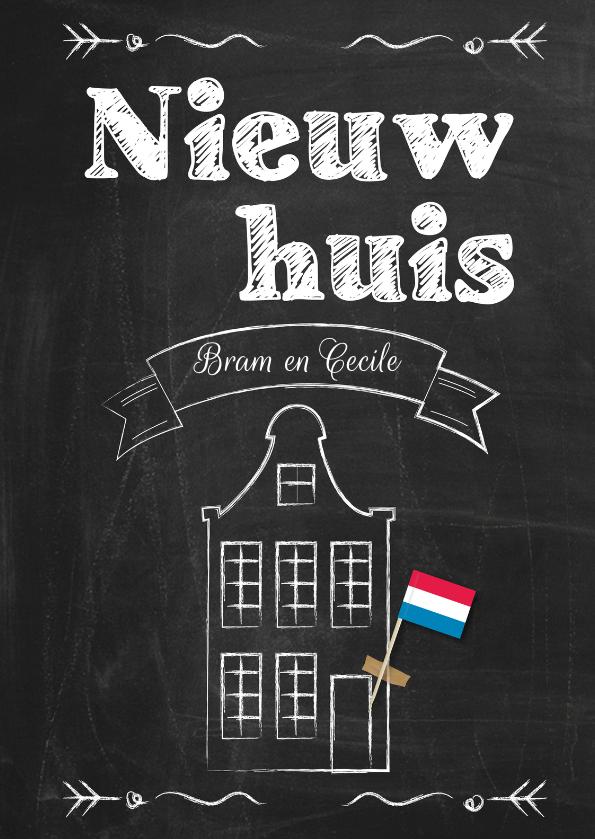 Nieuw huis op schoolbord byf felicitatiekaarten kaartje2go - Nieuw huis ...