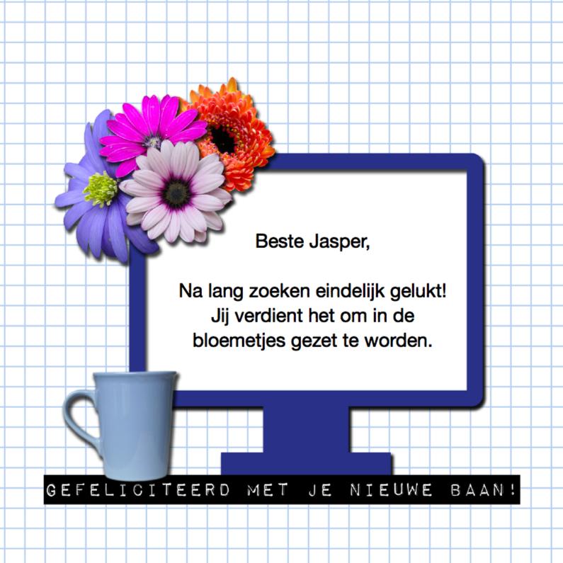 Nieuwe baan computer met bloemen 1