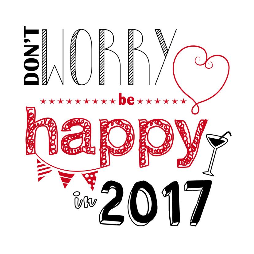 Nieuwjaarskaart be happy in 2017 1