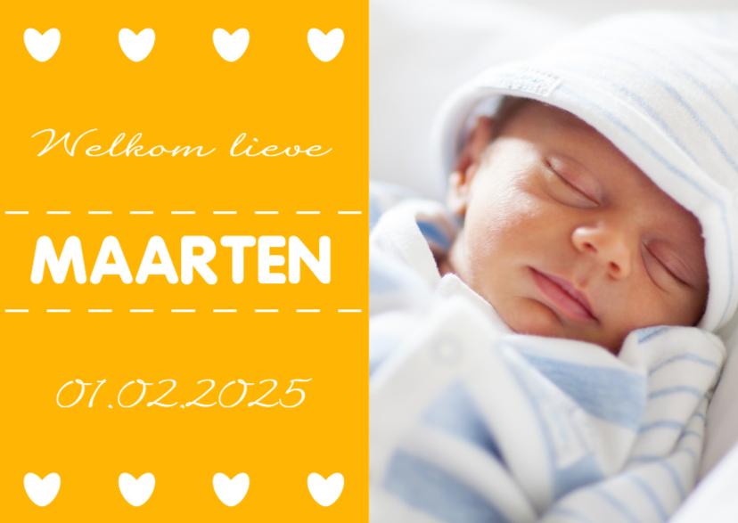 Okergeel geboortekaartje - DH 1