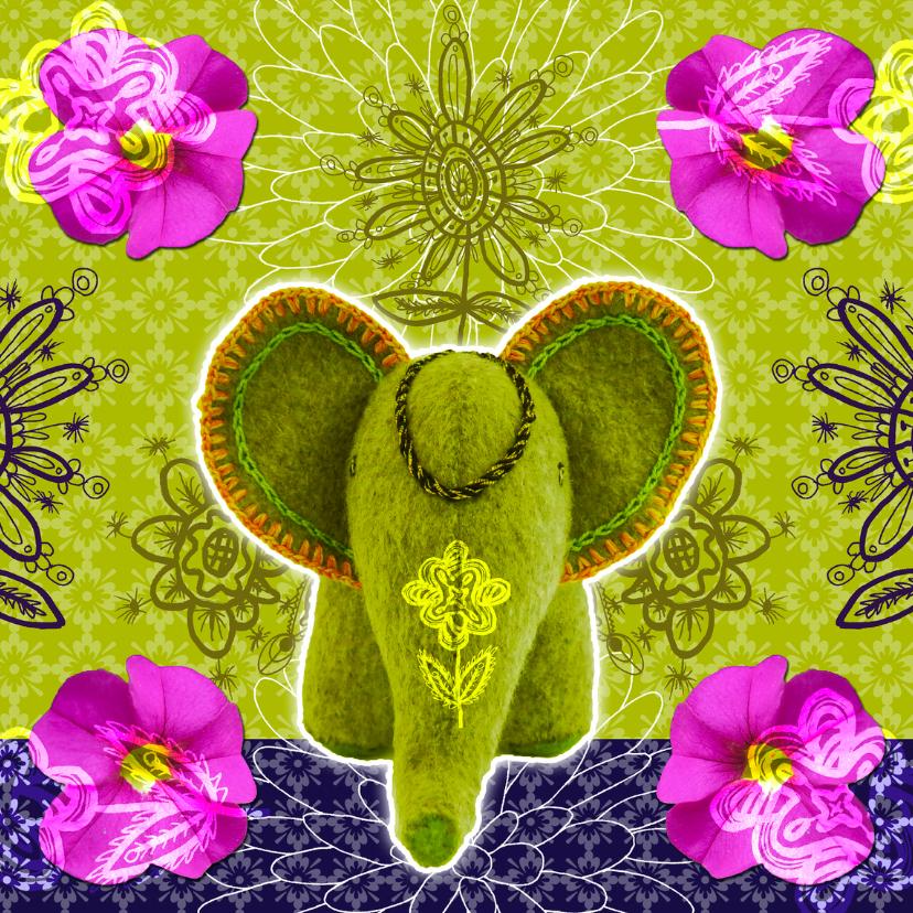 Olifantje met bloemen verjaardag 1