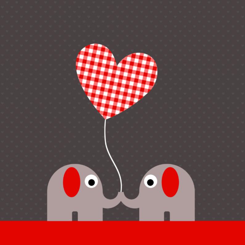 Olifantjes met geruit hartjesballon 1