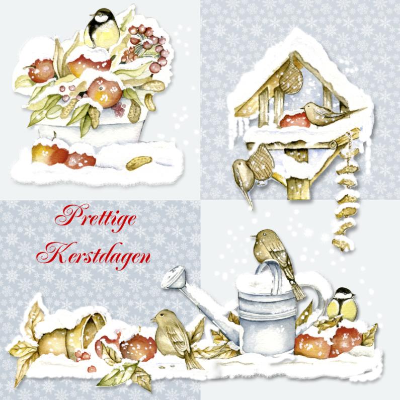 Prettige Kerstdagen vogeltjes in sneeuw 1