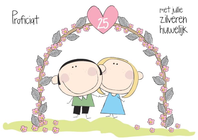 Proficiat zilveren huwelijk felicitatiekaarten kaartje go