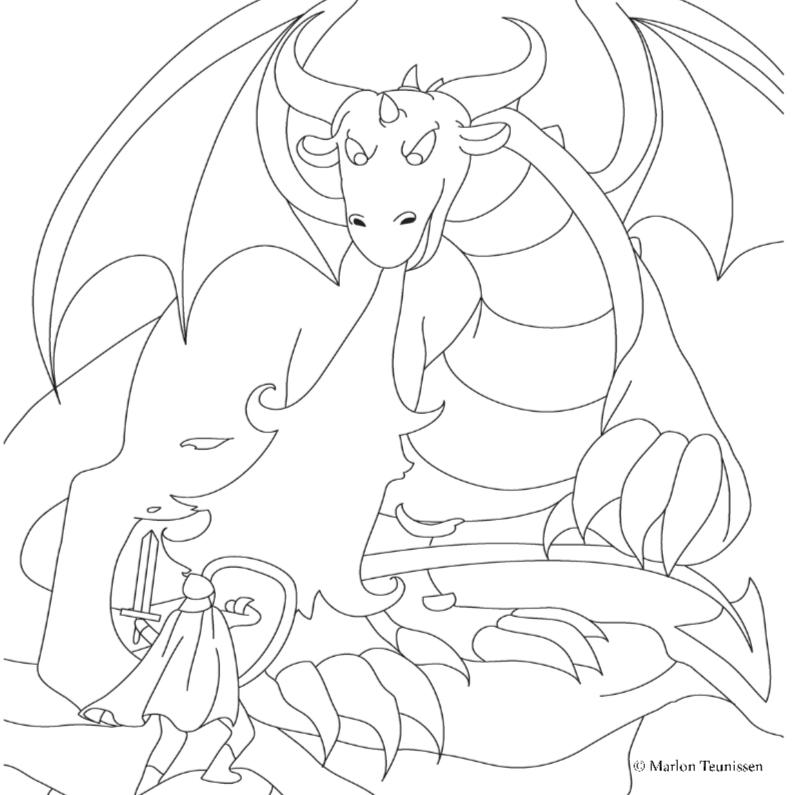 ridder en draak kleurplaat kaarten kaartje2go