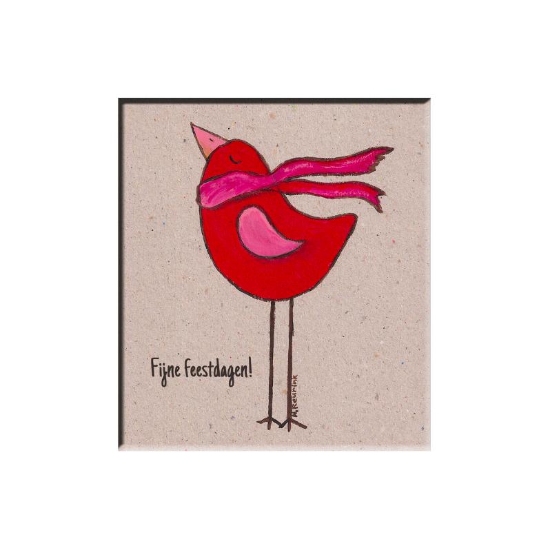 Rode kerstvogel met sjaal witte lijst 1